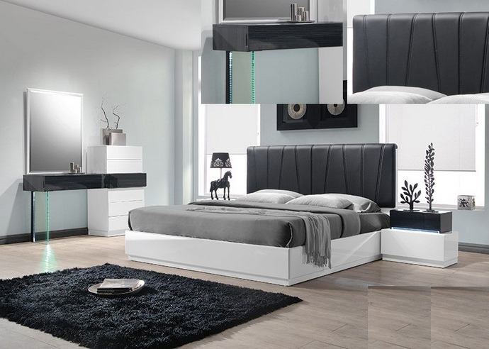 Ireland 4 pc Ireland collection Gray and white lacquer finish wood modern style Queen bed set with padded headboard