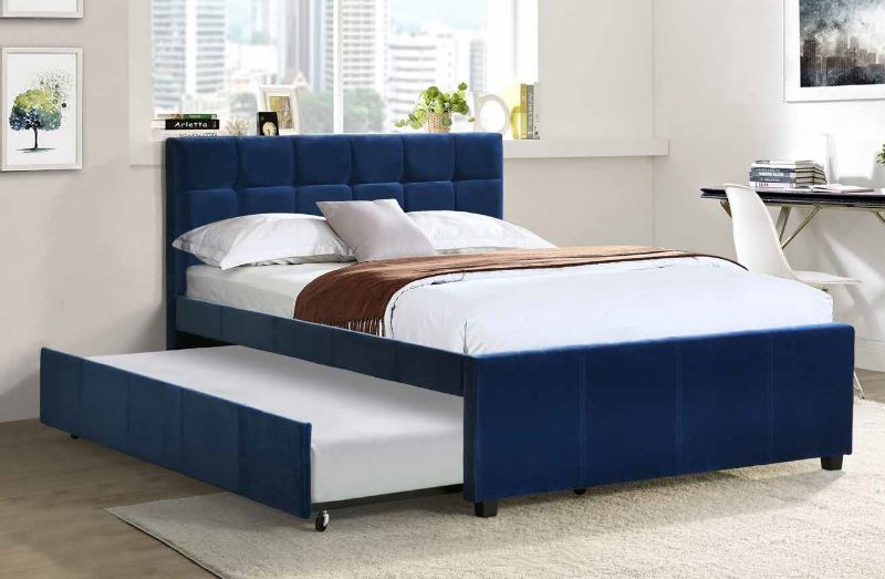 "K29 Brayden studio davon thornton navy blue velvet fabric full size bed twin size pull out trundle bed.  Bed measures 81"" x 56"" x 41"" H.  Standard Full size mattress required and Twin size mattress no more then 6"" thick required on the trundle. Some assem"