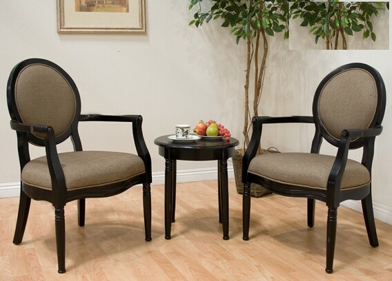 BM-KF0012 3 pc antique black finish wood accent chairs and side table and upholstered seat and backs