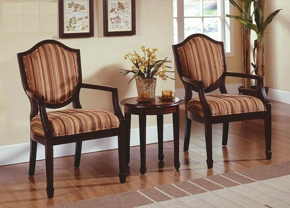 KF0026 3 pc Walnut finish wood accent chairs and side table upholstered with a striped print fabric