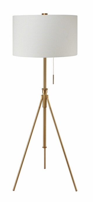 L731171F-GL Gold finish metal tripod style floor lamp with barrel lamp shade