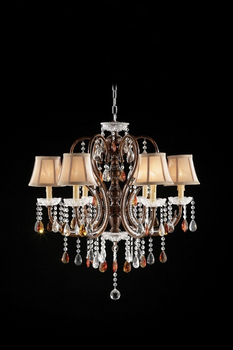 L95113H Christina collection hanging crystals hanging ceiling lamp with 6 small lamp shades