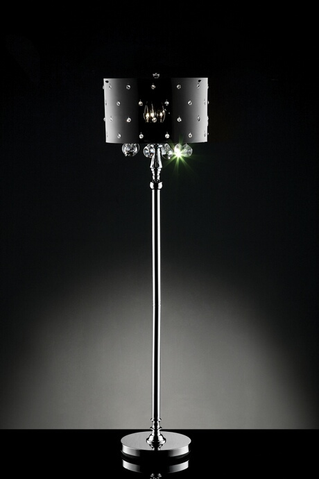 L95120F Christina collection hanging crystals floor lamp with acrylic shade with crystals