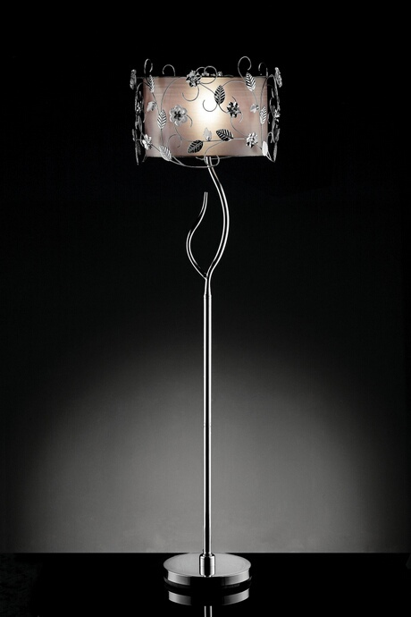 L95121F Christina collection twisting leaves motif floor lamp with double shade.