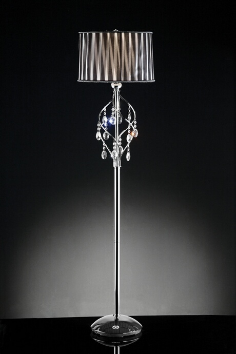 L95123F Christina collection hanging crystals twisted shade floor lamp