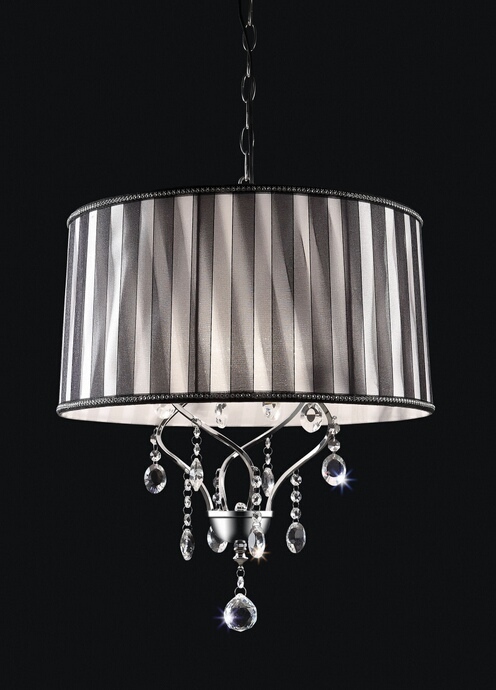 L95123H Christina collection twisted look hanging crystals ceiling lamp with barrel lamp shade
