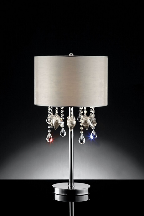 L95125T Christina collection hanging crystals and glass ornaments with barrel shade table lamp