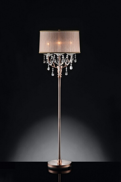 L95126F Christina collection hanging crystals floor lamp with sheer barrel lamp shade
