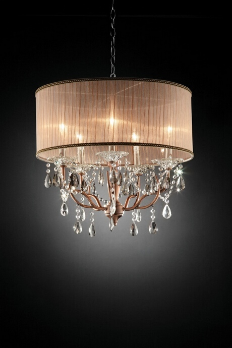 L95126H Christina collection hanging crystals hanging ceiling lamp with ruffled lamp shade