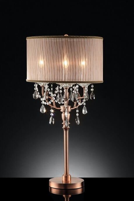 L95126T Christina collection hanging crystals table lamp with collapsible sheer lamp shade