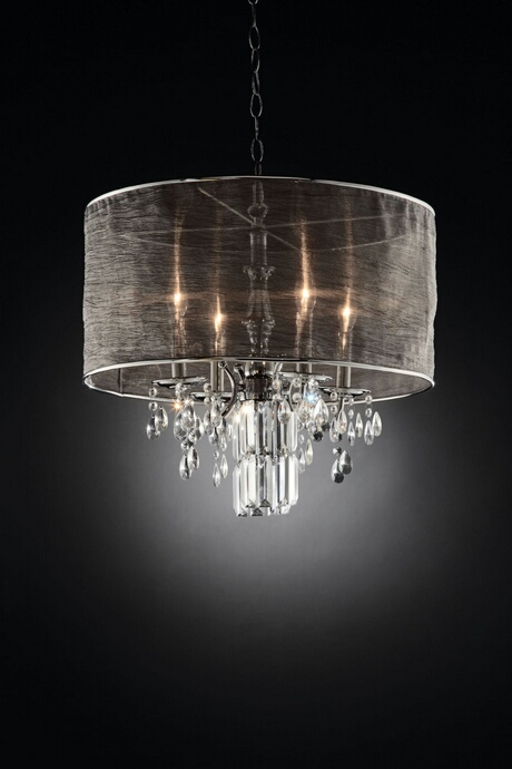 L95127H Christina collection hanging crystals hanging ceiling lamp with collapsible sheer lamp shade