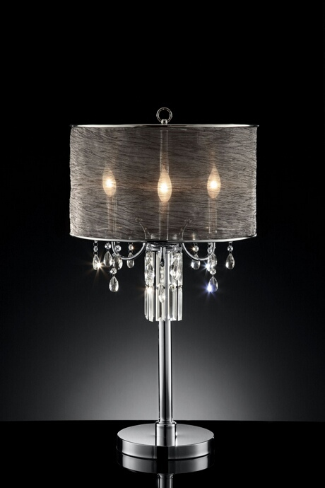 L95127T Christina collection hanging crystals table lamp with collapsible sheer lamp shade with three bulbs