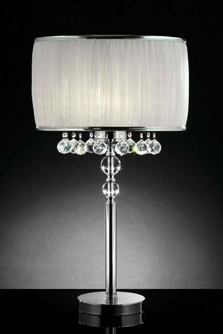 L95139T Christina collection hanging crystals table lamp with ruffled barrel shade