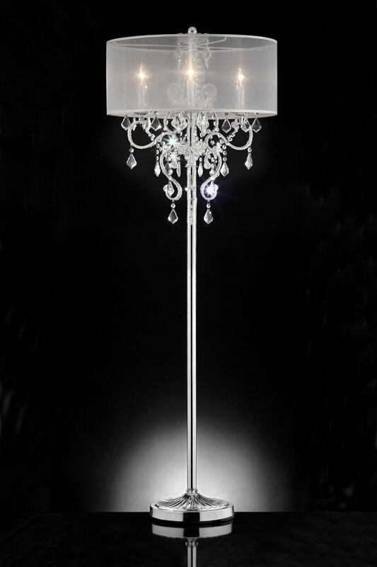L9720F Silver chrome finish metal and glass crystal floor lamp with collapsible sheer shade