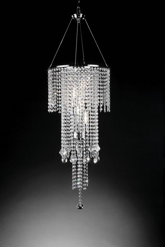 L9721H Silver chrome finish metal and hanging glass crystal shade chandelier hanging lamp