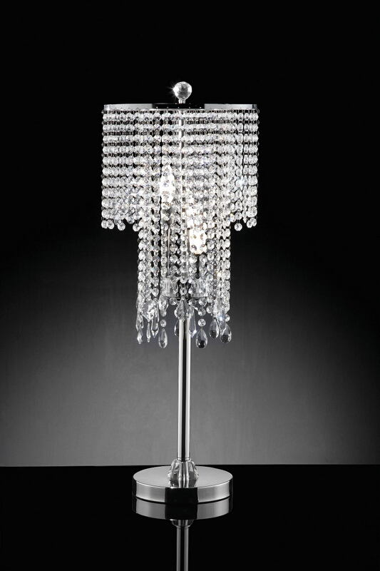 L9721T Silver chrome finish metal and hanging glass crystal shade table lamp