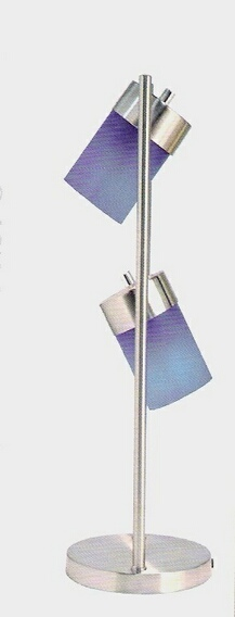 LT3031TBL Stainless steel table lamp with 2 swivel lights with blue shades