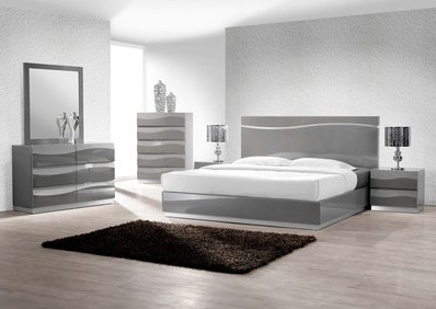 Leon 5 pc Leon collection modern style queen bedroom set with gray lacquer finish