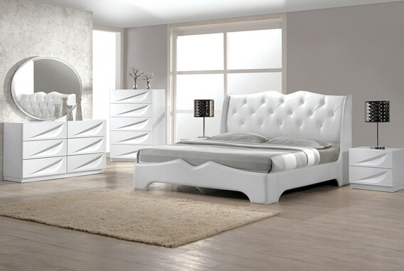 BM-MadridBed 4 pc madrid white lacquer finish wood modern style queen bed set with silver accents and button tufting