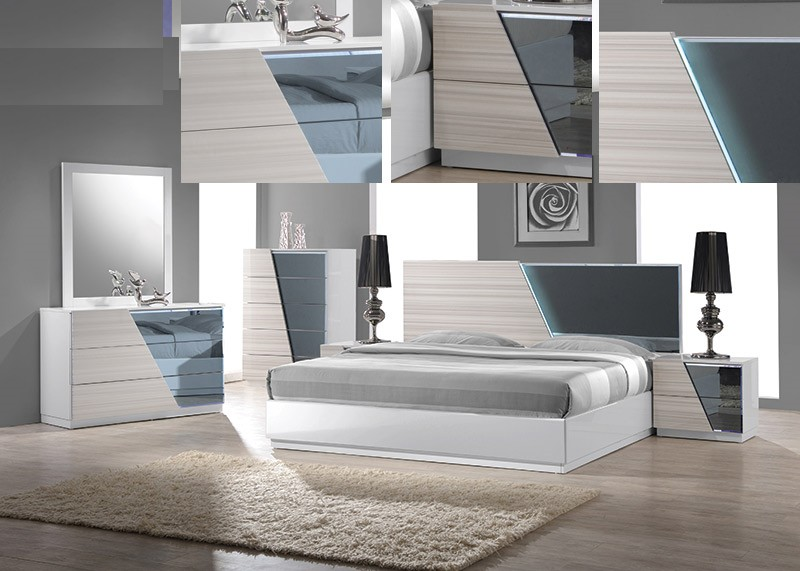 BM-Manchester 4 pc manchester collection zebra white lacquer finish wood modern style queen bed set with lighted headboard