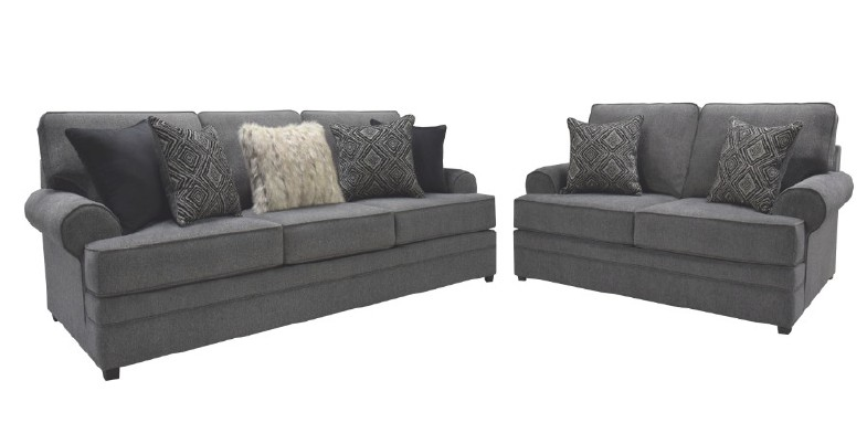 Mansion-Slate 2 pc Red barrel studio mansion slate fabric sofa and love seat with rounded arms