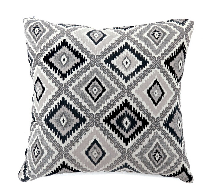 "PL6001BK Set of 2 deamund collection black colored fabric 22"" x 22"" throw pillows"