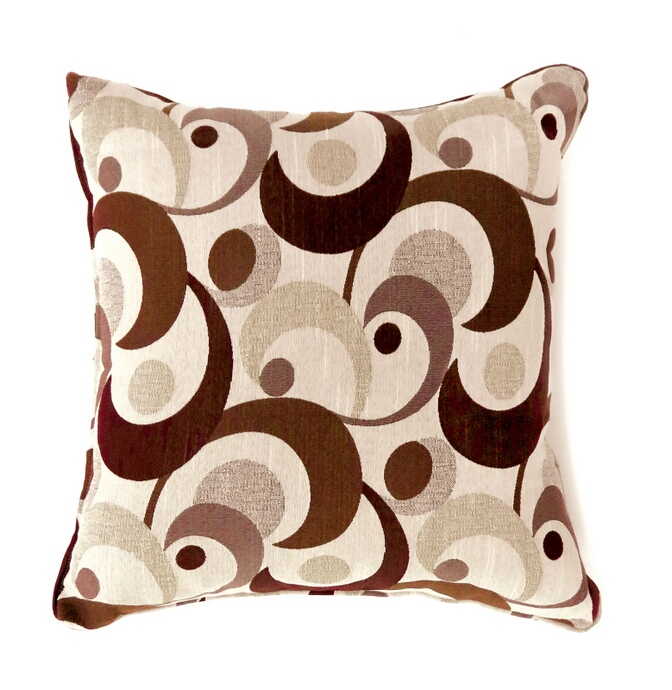 """PL6002BRS Set of 2 swoosh collection brown colored fabric 18"""" x 18"""" throw pillows"""