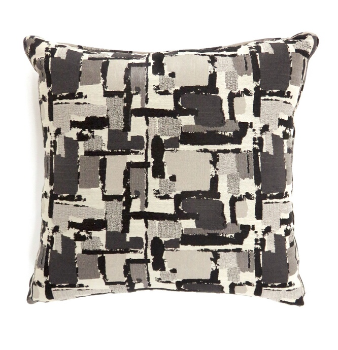 """PL6003BKS Set of 2 concrit collection black colored fabric 18"""" x 18"""" throw pillows"""