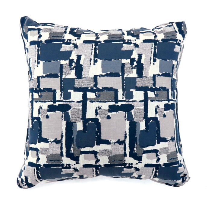 """PL6003BL Set of 2 concrit collection blue colored fabric 22"""" x 22"""" throw pillows"""