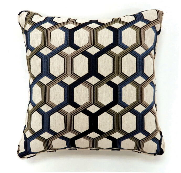 "PL6005BLS Set of 2 comney collection blue colored fabric 18"" x 18"" throw pillows"