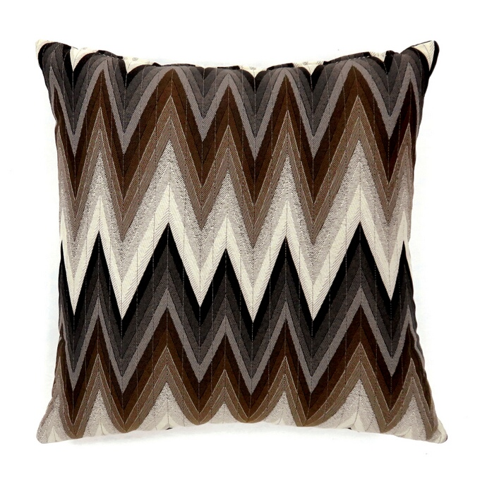 "PL6009S Set of 2 ziggs collection brown colored fabric 18"" x 18"" throw pillows"
