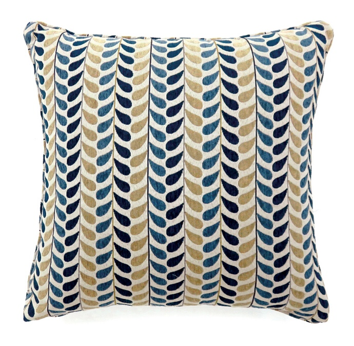 "PL6014 Set of 2 dropp collection blue and yellow colored fabric 22"" x 22"" throw pillows"