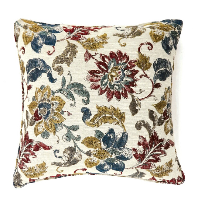 "PL6017S Set of 2 florra collection multi colored fabric 18"" x 18"" throw pillows"