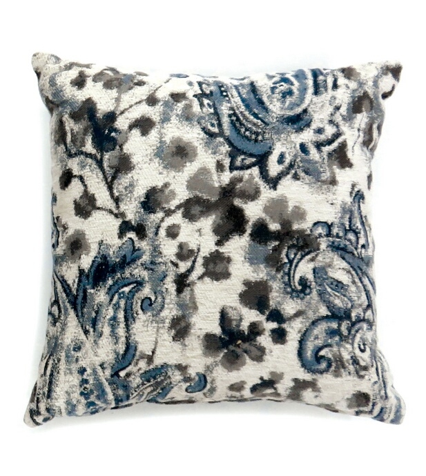"PL60211 Set of 2 ria collection gray & blue colored fabric 22"" x 22"" throw pillows"