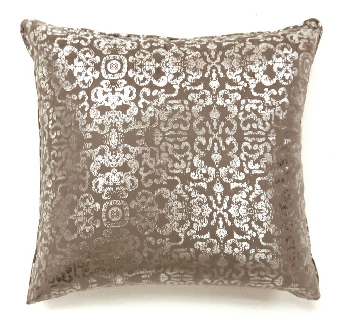 """PL6021S Set of 2 lia collection beige colored fabric 18"""" x 18"""" throw pillows"""