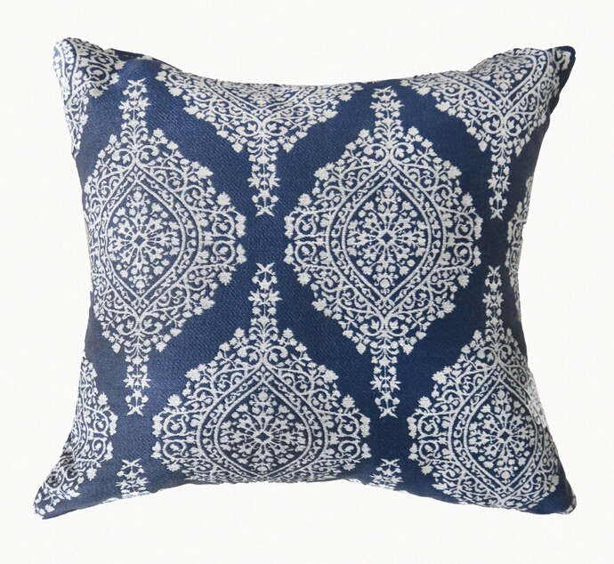 "PL670 Set of 2 ida collection blue colored fabric 22"" x 22"" throw pillows"