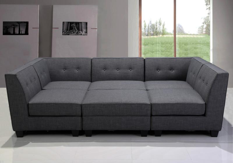 Best Master R168-6PC 6 pc Clayton gray linen blend fabric modular sectional sofa