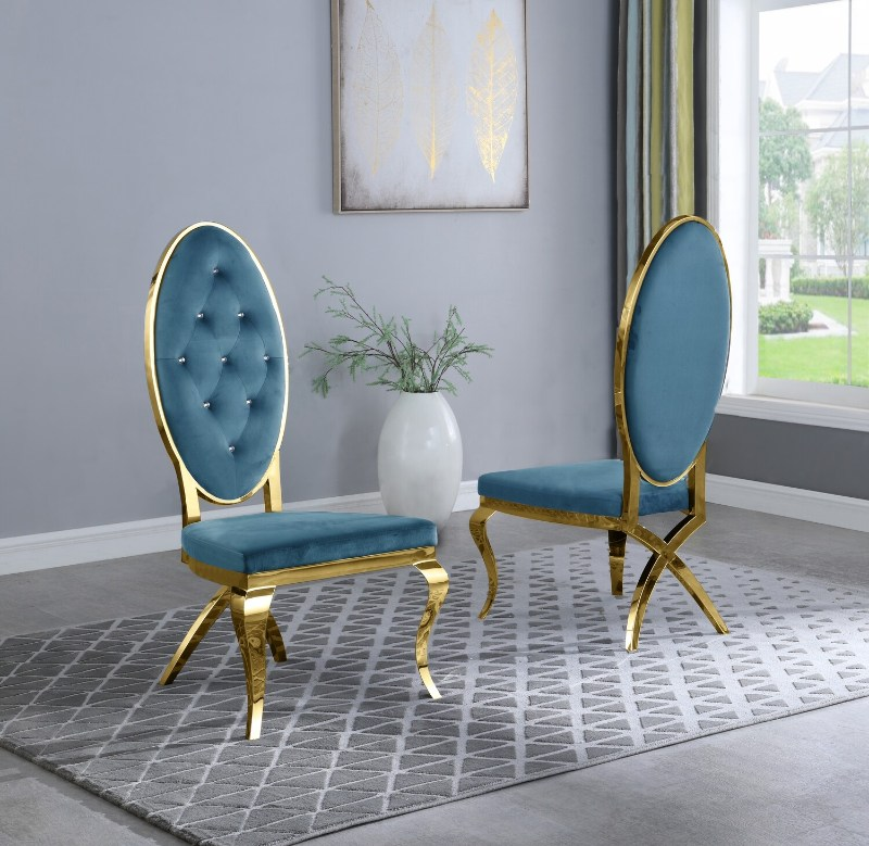Best Quality SC58 Set of 2 Francis teal faux velvet fabric tufted gold tone legs dining chairs