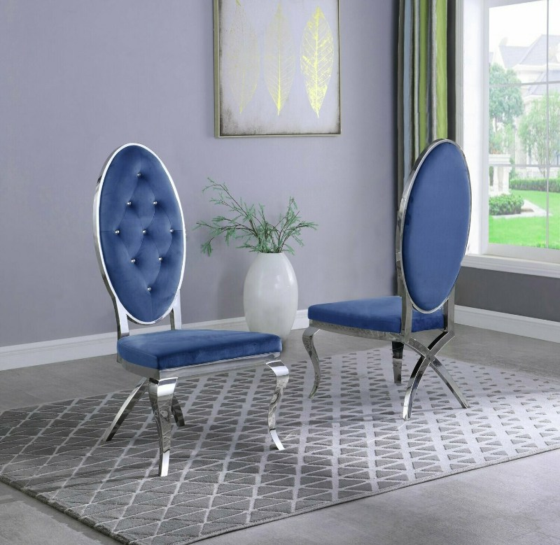 Best Quality SC59 Set of 2 Francis navy blue faux velvet fabric tufted chrome tone legs dining chairs