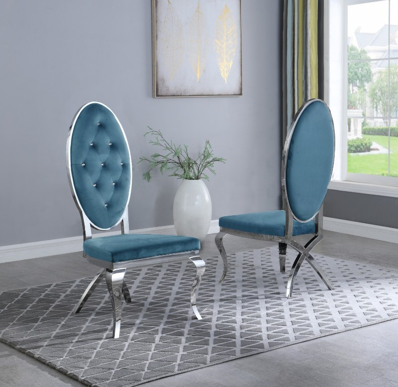 Best Quality SC63 Set of 2 Francis teal faux velvet fabric tufted chrome legs dining chairs