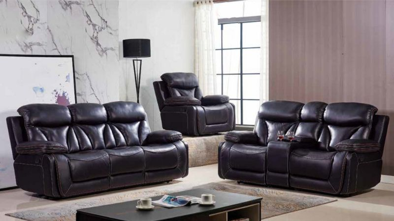 Mc-Ferran MF-SF3100-2PC 2 pc townsend dark brown top grain leather match reclining sofa and love seat set