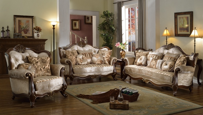 MFSF8700 2 pc Bridgette collection multi tone and pattern chenille fabric upholstered sofa and love seat with wood trim