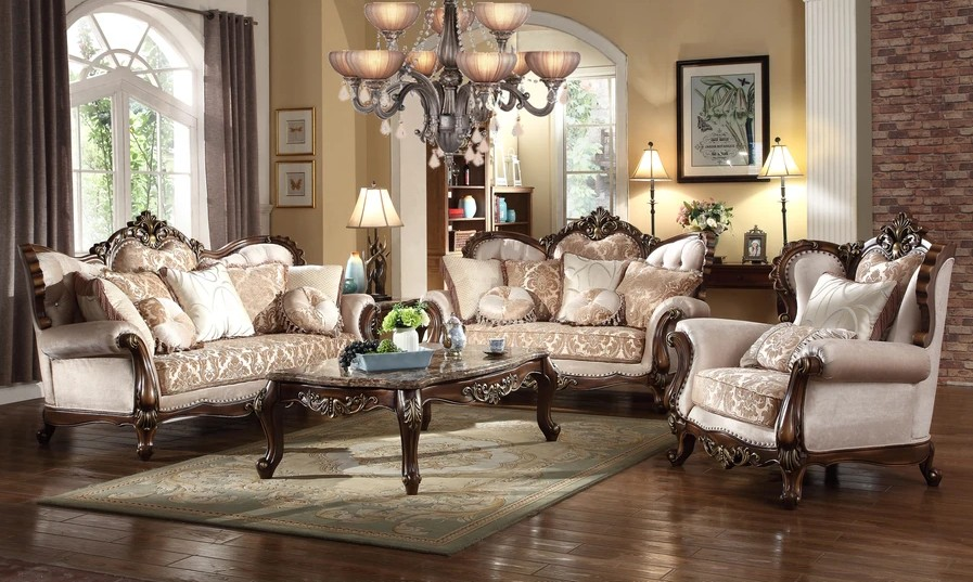Mc Ferran SF8900 2 pc bridgette multi tone and pattern chenille fabric upholstered sofa and love seat with wood trim