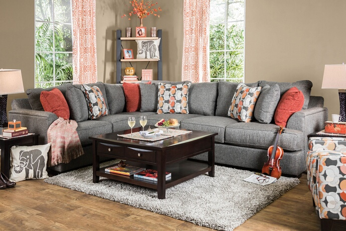 SM1112 2 pc pennington collection gray fabric upholstered sectional sofa set with rounded square arms