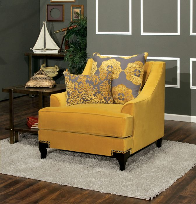 Furniture of america SM2201-CH Viscontti collection gold bella velvet fabric upholstered accent chair