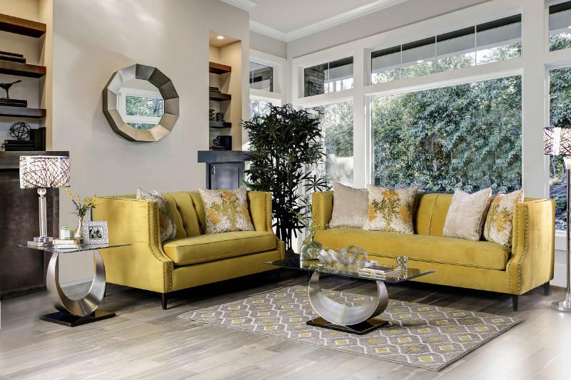 Furniture of america SM2216 2 pc Tegan royal yellow plush microfiber fabric sofa and love seat