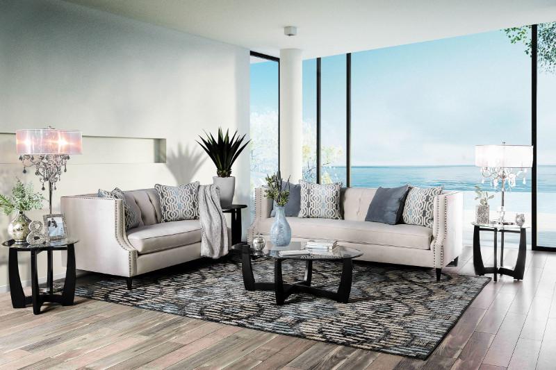 Furniture of america SM2217 2 pc Tegan beige plush microfiber fabric sofa and love seat