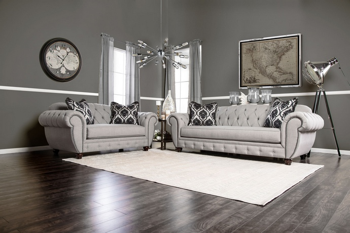SM2291 2 pc Viviana collection gray premium fabric upholstered tufted back design Sofa and Love seat set