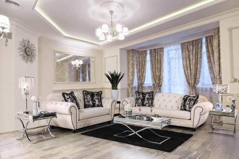 Furniture of america SM2292 2 pc Gilda beige linen like fabric sofa and love seat set