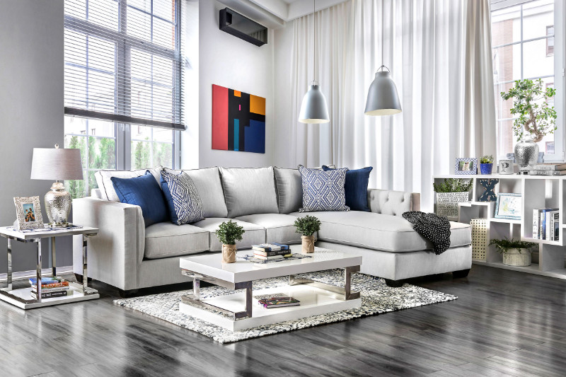SM2671 2 pc Ornella collection light gray linen like fabric upholstered squared arms sectional sofa with tufted accents